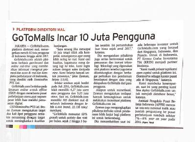 Gotomalls featured in Bisnis Indonesis, 14 June 2017